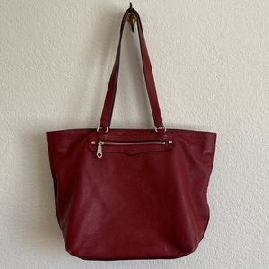 Rebecca Minkoff Large Red Pebbled Leather Tote Bag